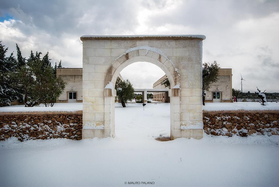 L'arco che dal parcheggio conduce presso l'interno della Tenuta, sembrava venir fuori direttamente dalla neve.